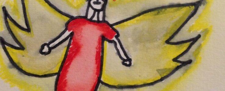 Kunst in der Schule: Aquarellengel der Klasse 3a
